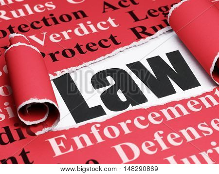 Law concept: black text Law under the curled piece of Red torn paper with  Tag Cloud, 3D rendering