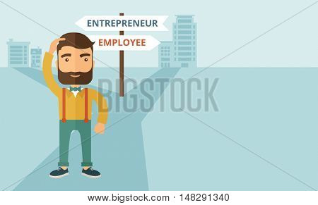 A hipster Caucasian man change career directions employee to entrepreneur street direction a sign of progress a big decision to make in changing direction. Improvement concept. A contemporary style