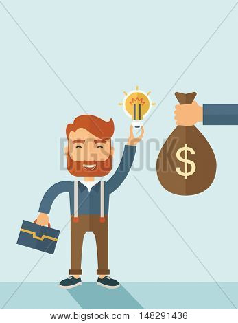 A hipster Caucasian businessman with beard exchange his hand with idea bulb to hand of money bag. Exchanging concept. A contemporary style with pastel palette soft blue tinted background. flat design