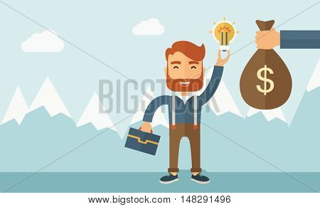 A hipster Caucasian businessman with beard exchange his hand with idea bulb to hand of money bag. Exchanging concept. A contemporary style with pastel palette soft blue tinted background with