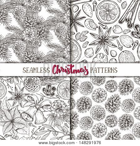 Set of four seamless patterns with pine cones, Christmas spices and citrus fruit. Hand drawn sketch vector illustrations. Black and white monochrome endless backgrounds.