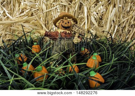 scarecrow figurine standing in pumpkin patch of candy pumpkins with straw background