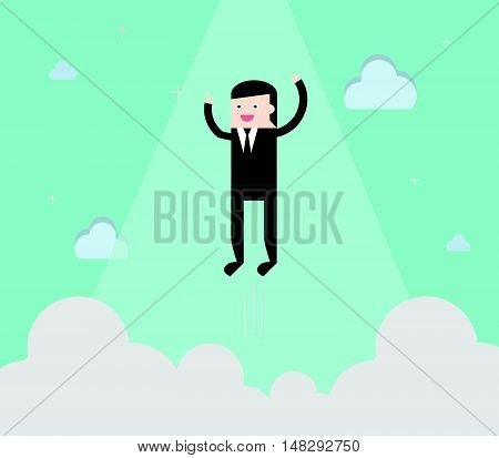 Businessman Fly In Vertical Like Financial Freedom