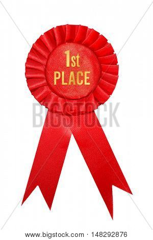 First place red ribbon award on white background.