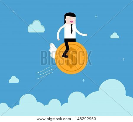 Businessman Ride Coin Financial Freedom