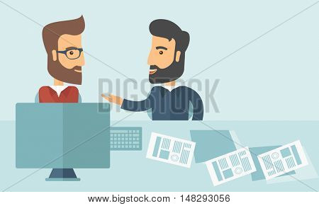 Two Caucasian businessmen with beard sitting while talking infront of laptop and documents agreeing on a business deal. Partnership, teamwork concept. A contemporary style with pastel palette soft