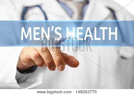 Doctor touching virtual screen. Urology concept