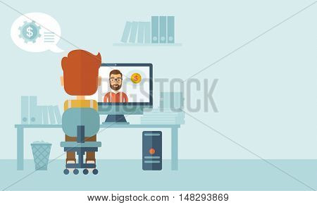 Man sitting inside his office facing backward while the other man is inside the computer, communicate each other discussing about business by using the internet thru skype video. Communication concept