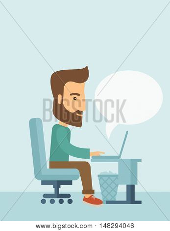 A buisnessman sitting infront of his laptop and blank bubble still searching information in computer network. Searching concept. . A contemporary style with pastel palette, soft blue tinted background