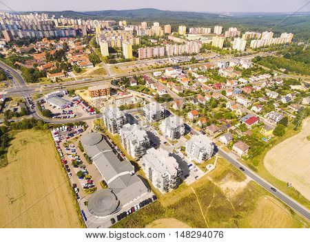 Aerial view of area for pleasant living in suburban district of Pilsen city. Czech Republic, Europe.