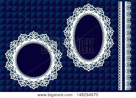 Lace Doily Picture Frames, vintage lace ribbon trim, Royal blue satin quilt background, round, oval antique designs, copy space for do it yourself winter albums, scrapbooks, arts, craft, holidays. EPS8 includes quilt pattern swatch that will seamlessly fi