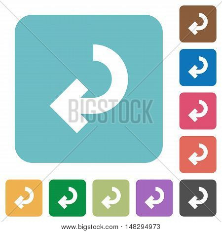 Flat return arrow icons on rounded square color backgrounds. poster
