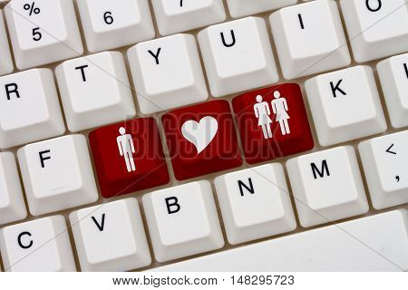 Threesome Internet Dating Sites A close-up of a keyboard with red highlighted symbol of man and two women and heart