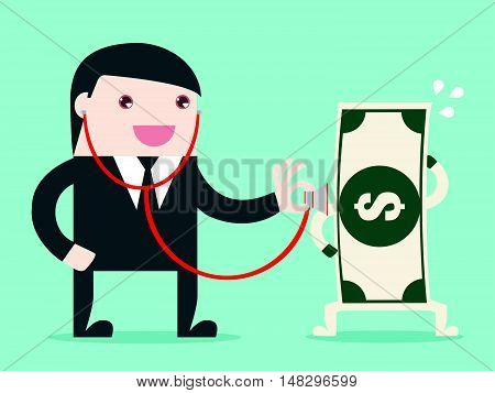 Money Check Up. Financial Health Check. Use Stethoscope To Check Bank Note Health