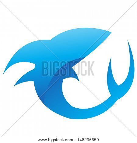 Glossy blue shark isolated on white