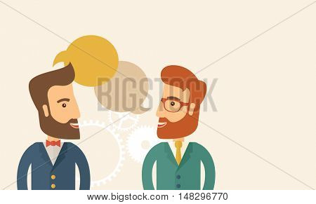 Two happy hipster Caucasian men with beard facing each other wearing jacket sharing and gathering ideas with bubble text on the top of their heads. Team building concept. A contemporary style with