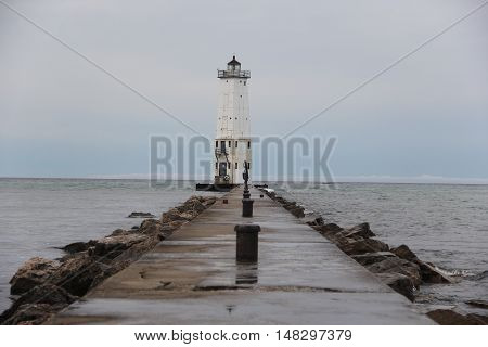 Frankfort, Michigan breakwater with lighthouse at the end