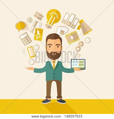 A happy hipster Caucasian a self employed with beard standing enjoying doing a multitasking, working on different projects from his home office only by himself. Self reliance concept. A contemporary
