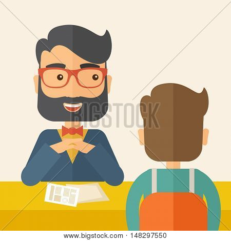 A smiling Caucasian human resource manager with beard interviewed the applicant with his curriculum vitae for the job vacancy.  Employment, recruitment concept. A contemporary style with pastel