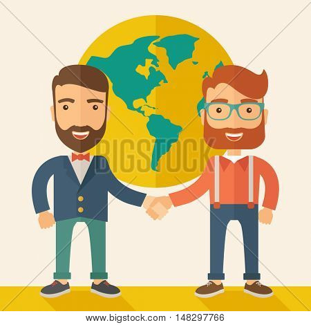 Two lucky hipster Caucasian businessmen with beard happily standing, holding their hands while working together telling the whole world that they are successful in their business partnership. Happy