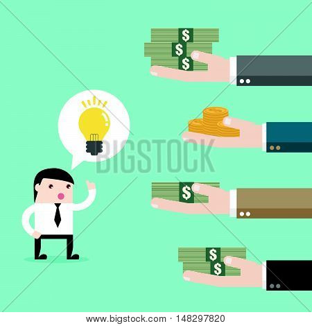 Multiple Hands Offering Money For Idea