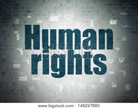 Political concept: Painted blue text Human Rights on Digital Data Paper background with  Hand Drawn Politics Icons