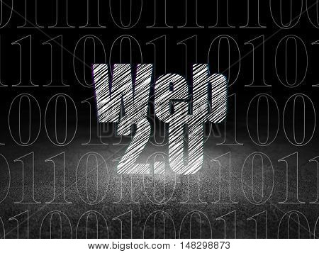Web design concept: Glowing text Web 2.0 in grunge dark room with Dirty Floor, black background with  Binary Code