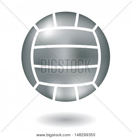 Glossy line art metallic volleyball isolated on white