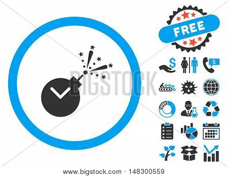 Time Fireworks Charge icon with free bonus images. Glyph illustration style is flat iconic bicolor symbols, blue and gray colors, white background.