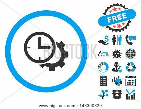 Time Setup icon with free bonus clip art. Glyph illustration style is flat iconic bicolor symbols, blue and gray colors, white background.
