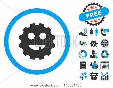 Toothless Gear Smiley pictograph with free bonus symbols. Glyph illustration style is flat iconic bicolor symbols, blue and gray colors, white background.