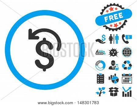 Undo Payment icon with free bonus clip art. Glyph illustration style is flat iconic bicolor symbols, blue and gray colors, white background.