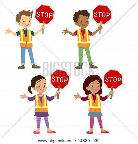 Vector hand drawn cartoon character illustration of multicultural young school age children in crossing guard uniform holding stop sign. Safe street crossing, school safety patrol, kids safety rules.
