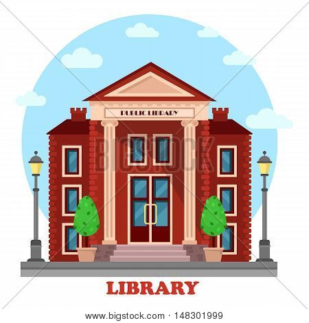 Public lending or academic, national library exterior outdoor view. Structure with books and contemporary, periodicals archive for learning and study. For education and architecture theme
