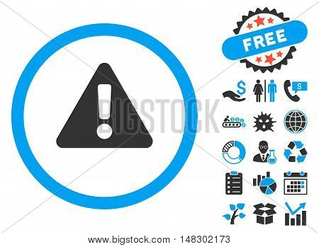 Warning icon with free bonus icon set. Glyph illustration style is flat iconic bicolor symbols, blue and gray colors, white background.