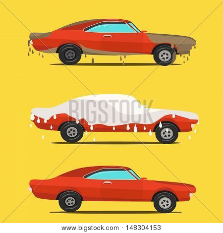 Cool vector flat illustration on dirty and clean car. Car wash stages process from dirty to clean.