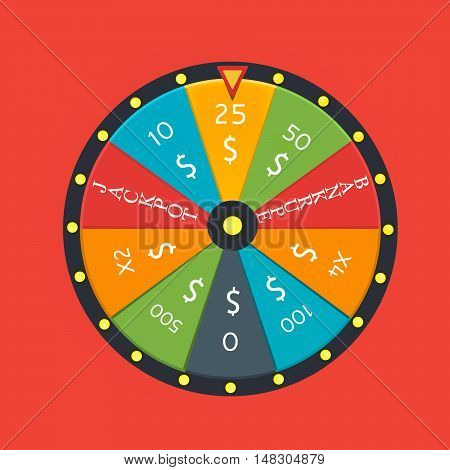 Fortune wheel in flat style. Game money winner play luck