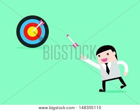 Businessman Throw Arrow To Target