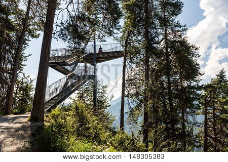 View Of The Outlook Platform Il Spir Near Flims, Switzerland