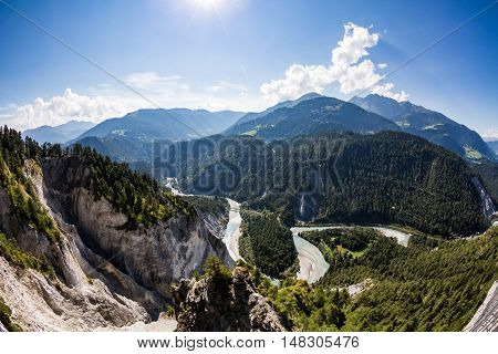 View Of The Rhine Canyon In The Valley Of Trin