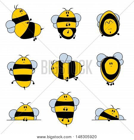 Cute Cartoon set of nine different bees