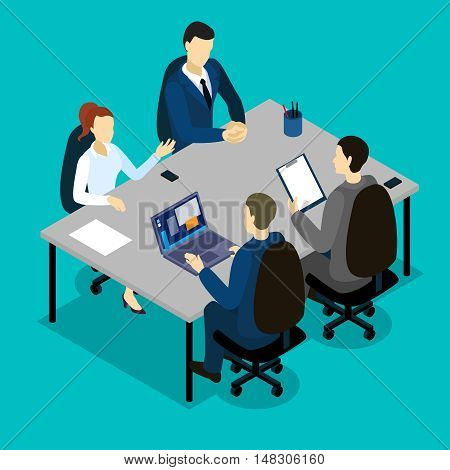 Teamwork isometric concept with talking woman and men at grey table on blue background vector illustration