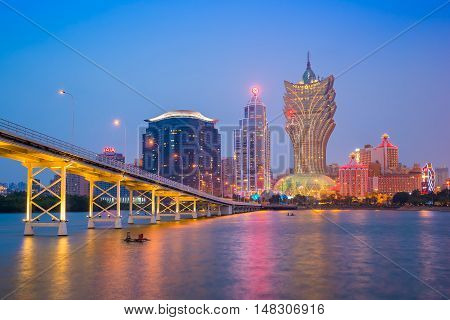 View Of Macau City Skyline At Night