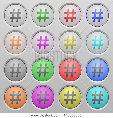 Set of hash tag plastic sunk spherical buttons.