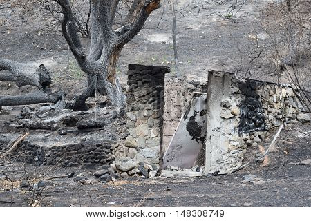 Destroyed home with just the foundation left standing caused by a fire