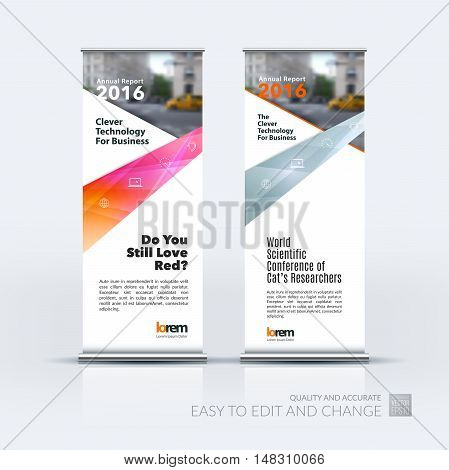 Vector set of modern roll Up Banner stand design with abstract with red lines, arrow, ribbon with overlap effect for business and finance. Corporate vertical flyer.