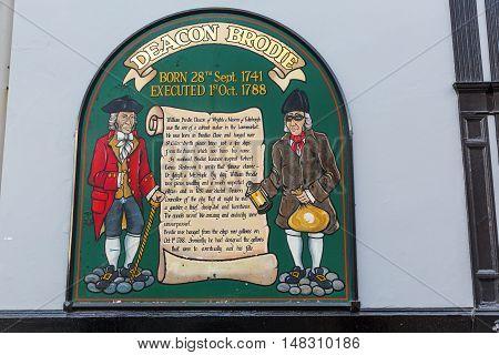 Sign At Deacon Brodies Tavern In Edinburgh, Scotland