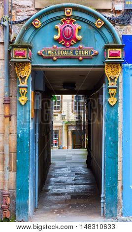 Entrance To Tweeddale Court In The Old Town Of Edinburgh