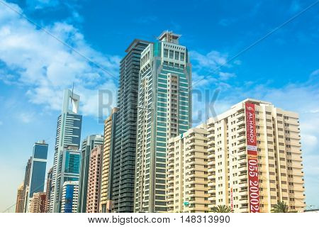 Dubai, United Arab Emirates - May 1, 2013: residential and office complex in Downtown Dubai district, previously known as Downtown Burj Dubai, important part of development in Dubai.