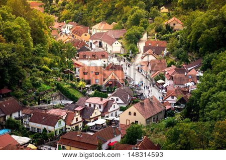 High angle view of Karlstejn town. Central Bohemia Czech Republic.